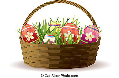 Easter basket with painted eggs in fresh grass
