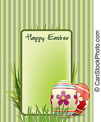 Easter postcard with ornate eggs end grass