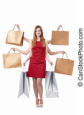 Shiva - Young girl with shopping bags on white background