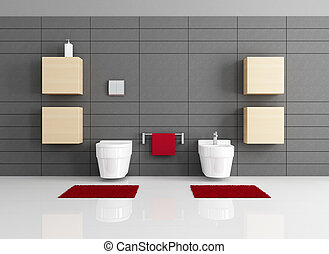 minimalist bathroom with toilet and bidet - rendering