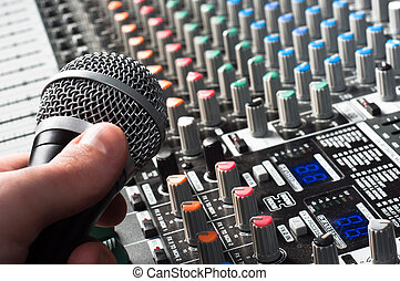 Sound mixer with microphone and hand