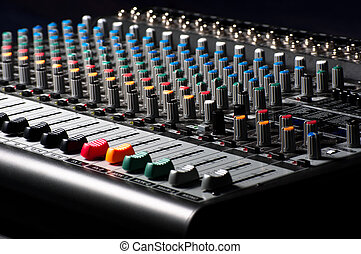 Closeup of an audio sound mixer