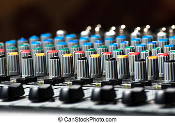 Sliders of a Sound Mixer - Sliders and buttons of a Sound...