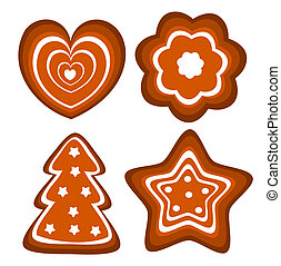 Gingerbread cookies vector - Set of vector Christmas...