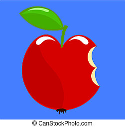 Paradise apple - Symbolic biten apple over blue sky -...