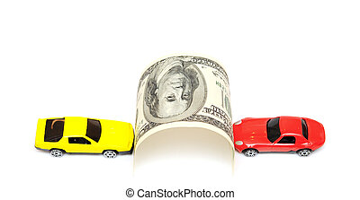 money and car isolated on the white background