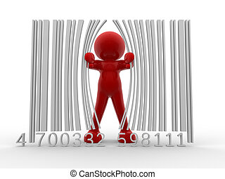 Bar code - 3d person and bar code - This is a 3d render...