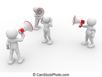 Megaphone - 3d human character with megaphone - This is a 3d...