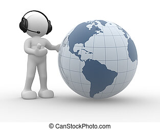 Earth - 3d people icon and the earth globe. This is a 3d...
