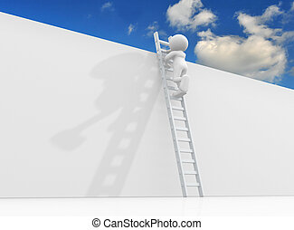 Ladder - 3d character person climbing the ladder to sky-...