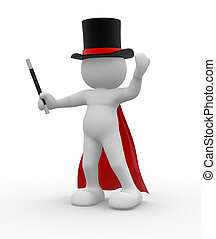 Magician over white background - This is a 3d render...