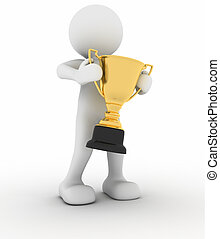 Trophy - 3d human icon holding golden trophy