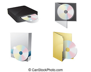 CD Icon, cd-rom and paper box - CD Icon with folder, cd-rom...