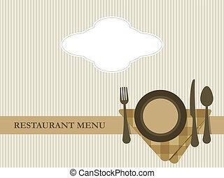 restaurante, menu, desenho, vetorial