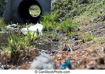 Sewage drainage system with water and grass