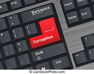 Corruption - Vector Illustration of a computer keyboard