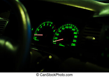 Closeup speedometer of the car