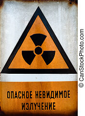 Russian Beware of radiation sign in metal