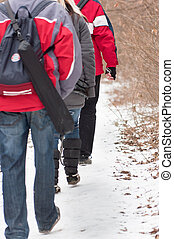 Young people traveling in forest