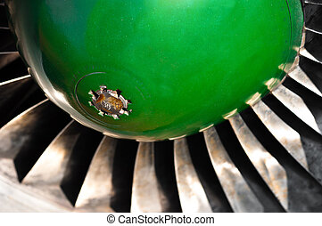 Closeup of a jet turbine engine