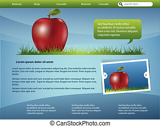 Website template design with apple