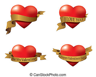 Vector set of Valentine's hearts