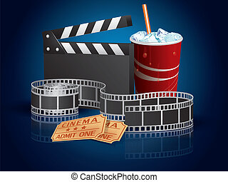 Soda, filmstrip and tickets
