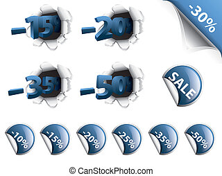 Set of blue discount stickers