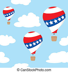 Seamless pattern with patriotic hot air balloons