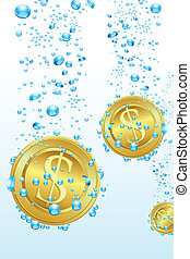 Dollar Coins in Water - illustration of dollar coins...
