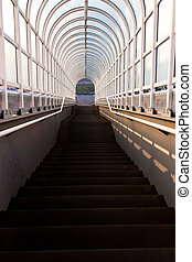 Tunnel with stairs leading down