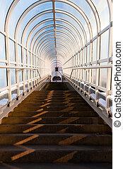 tunnel, escalier, mener, haut