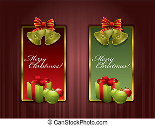 Christmas labels with Chritmas bells and gift