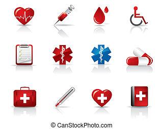 médico, hospitalar, ícones, jogo