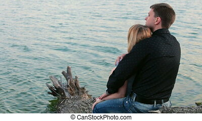 romantic couple by  lake