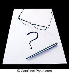 Writer's Block - Glasses with pen and question mark on white...