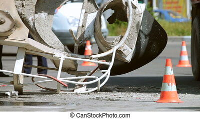road accident - Road cone in place a road accident cement...
