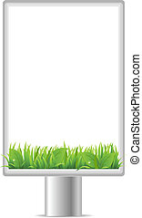 Blank Vertical Billboard With Grass, Isolated On White...