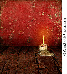 Candle Stub on rustic moody Background - Candle Stub on...