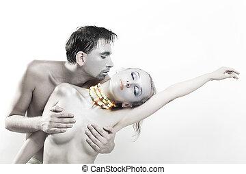tánc, meztelen, ember, nő