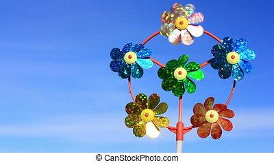 Children's pinwheel in windy weather