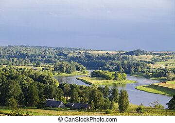 Rural summer landscape, river
