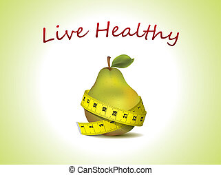 Fresh pear with measuring tape