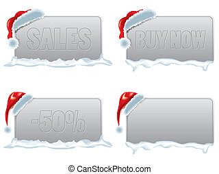 Christmas discount sales tag with santa hat