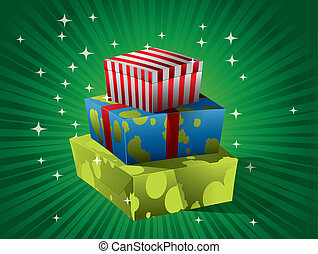 Christmas gift on green background