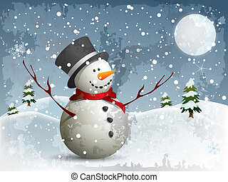 Snowman in a full moon night backgr