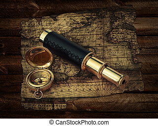 Vintage travel objects - traveling theme: vintage telescope...