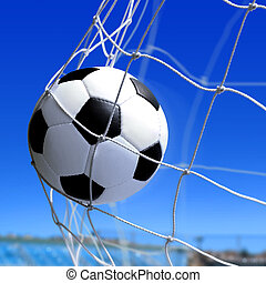 goal - leather soccer ball flies into the net gate
