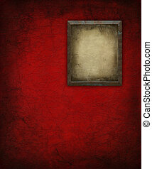 Grunge Picture Frame on red Wall
