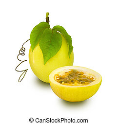 Passion Fruit isolated - Yellow Passion Fruit isolated with...
